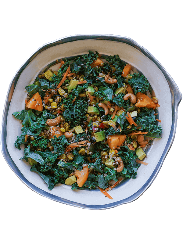Bowl of healthy greens & food for gut health
